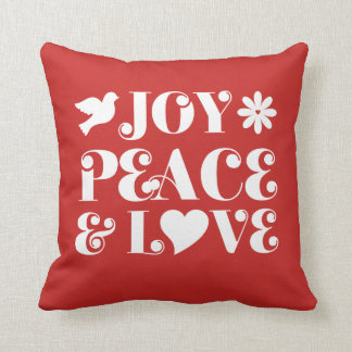 Joy Peace and Love Red Holidays Throw Pillow