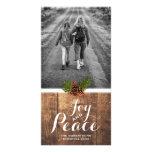 Joy Peace Christmas Wishes Photo Wood Pinecones Photo Card