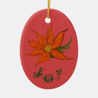 Joy & Peace Customizable Ceramic Oval Ornament