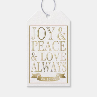 Joy & Peace & Love Always | Gold Faux Foil Gift Tags
