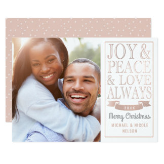 Joy & Peace & Love Always | Rose Gold Faux Foil Card