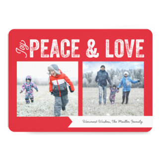 Joy Peace Love Banner 2-Photo Holiday Card