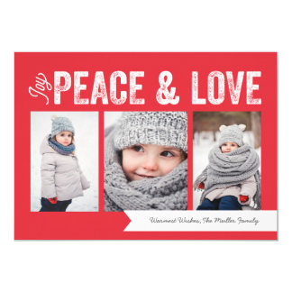 Joy Peace Love Banner 3-Photo Holiday Card