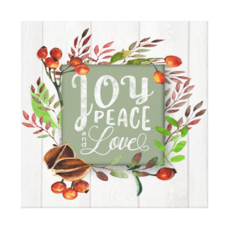 Joy, Peace, Love Chalkboard Wreath ID437 Canvas Print