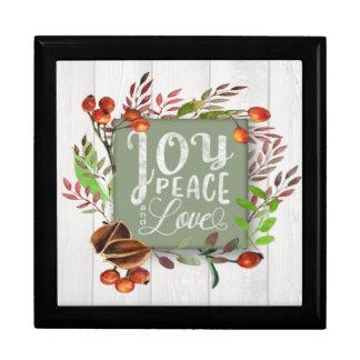 Joy, Peace, Love Chalkboard Wreath ID437 Gift Box