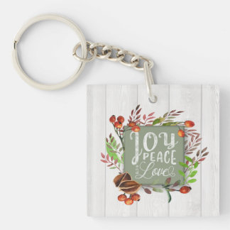 Joy, Peace, Love Chalkboard Wreath ID437 Keychain
