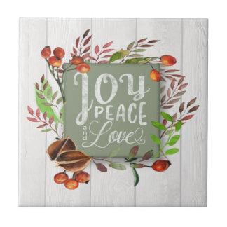 Joy, Peace, Love Chalkboard Wreath ID437 Tile