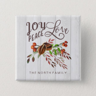 Joy, Peace Love Christmas Swag ID438 2 Inch Square Button