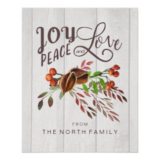 Joy, Peace Love Christmas Swag ID438 Poster