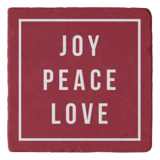 Joy Peace Love   Modern Red & White Holiday Trivet