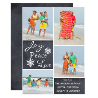 Joy, Peace, Love Photo Collage - Christmas Card