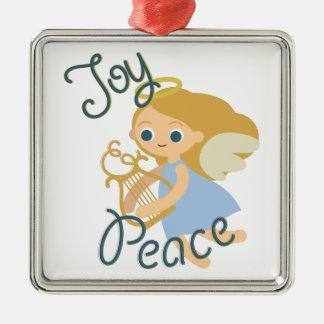 Joy & Peace Silver-Colored Square Ornament