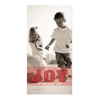 JOY PHOTO HOLIDAY GREETING CARD | RED GLITTER PHOTO CARD