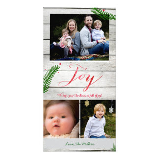 Joy Pine Branches Photo Greeting Card