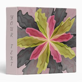 Joy, Pink Green Anthracite Fantasy Flower Fractal 3 Ring Binders