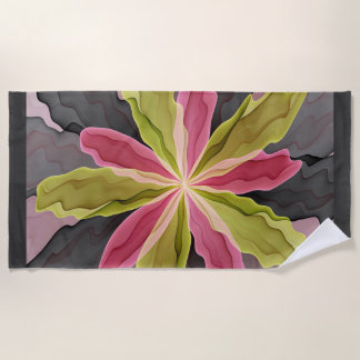 Joy, Pink Green Anthracite Fantasy Flower Fractal Beach Towel