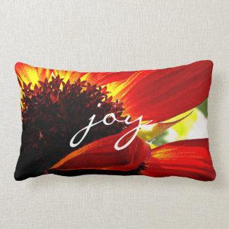 """Joy"" Quote Giant Red Orange Daisy Close-up Photo Lumbar Pillow"
