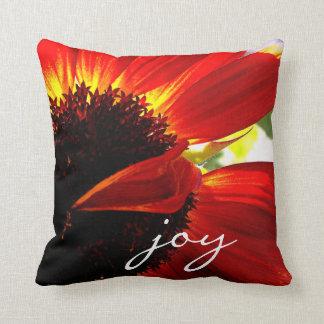 """Joy"" Quote Giant Red Orange Daisy Close-up Photo Throw Pillow"