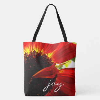 """""""Joy"""" quote giant red orange daisy close-up photo Tote Bag"""