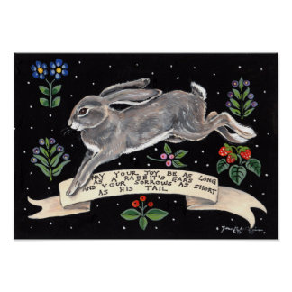 Joy Rabbit Inspirational Poster Black Floral Hare