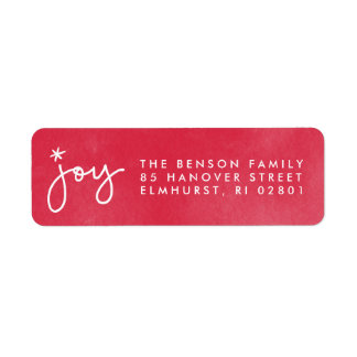 Joy Red Watercolor Return Address Label