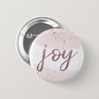 Joy | Rose Gold Christmas 2 Inch Round Button