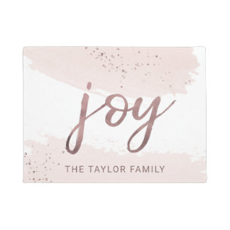 Joy   Rose Gold Christmas Doormat