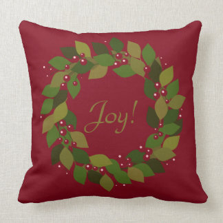 Joy! | Rustic Red Christmas Wreath Throw Pillow