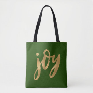 Joy Script Gold and Green Custom Christmas Tote Bag