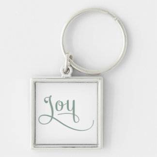 Joy Script Sage Silver-Colored Square Keychain
