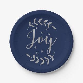 JOY Silver Blue Botanical Leaf Modern Holiday Paper Plate