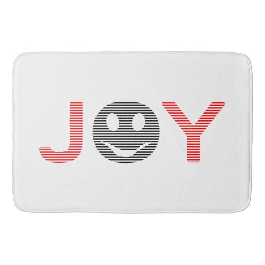 Joy - smiley - strips - black and red. bath mat