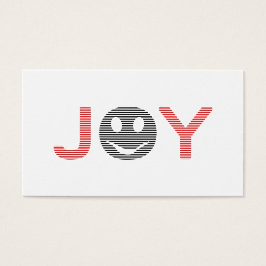 Joy - smiley - strips - black and red. business card
