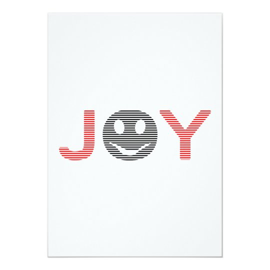 Joy - smiley - strips - black and red. card