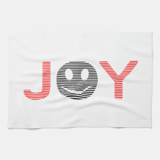 Joy - smiley - strips - black and red. kitchen towel