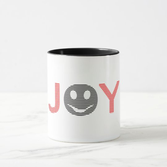 Joy - smiley - strips - black and red. mug