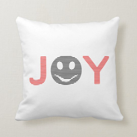 Joy - smiley - strips - black and red. throw pillow