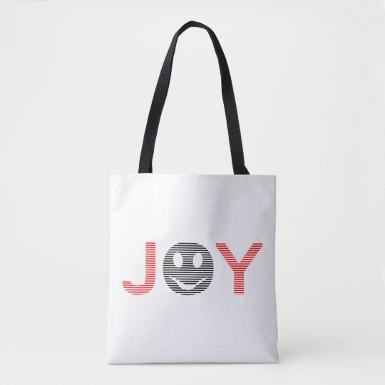 Joy - smiley - strips - black and red. tote bag