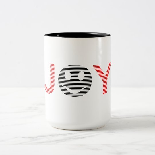 Joy - smiley - strips - black and red. Two-Tone coffee mug
