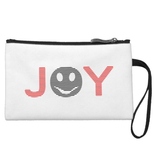 Joy - smiley - strips - black and red. wristlet