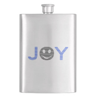 Joy - smiley - strips - blue and black. hip flask