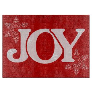 JOY Snowflake Pattern Elegant Red Christmas Boards