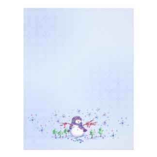 Joy Snowman Christmas Holiday Snowflake Art Paper Personalized Letterhead