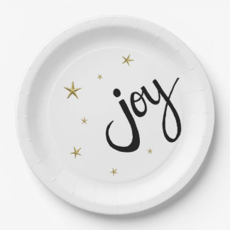 Joy Stars and Sparkle Holiday Party Paper Plates 9 Inch Paper Plate