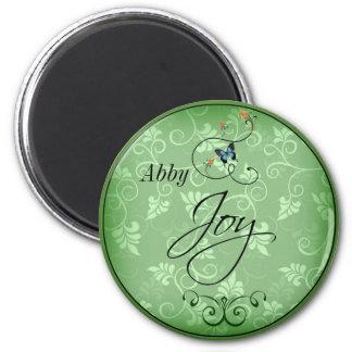 Joy Swirly Green Leaf Blue Butterfly Magnet