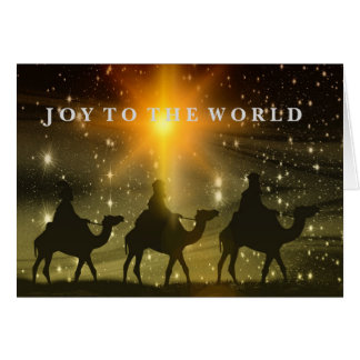 Joy to the World 3 wise men Christmas card