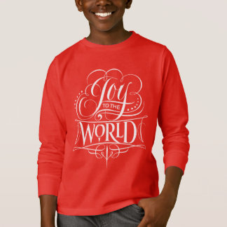 Joy to the World Chalk Calligraphy Christmas Red T-Shirt