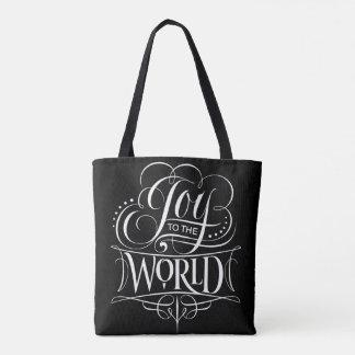 Joy to the World Christmas Calligraphy Black Tote Bag