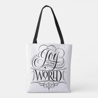 Joy to the World Christmas Calligraphy White Tote Bag