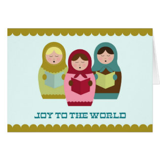 Joy to the World Christmas card with matryoshkas